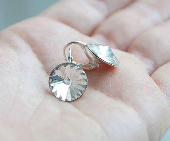 Серебряные серьги с кристаллами  Swarovski Риволи 1122