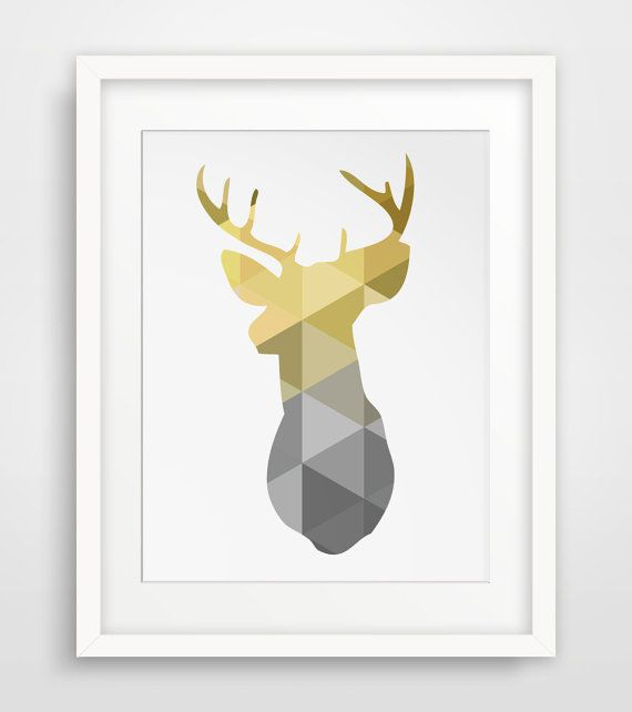 INSTAND DOWNLOAD: Mustard yellow and grey deer head wall art    ===      Print out this modern wall artwork from your home computer or local