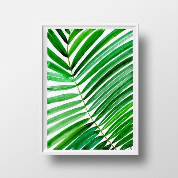 Tropical Leaf Watercolor Painting Coconut Palm Tree Nature