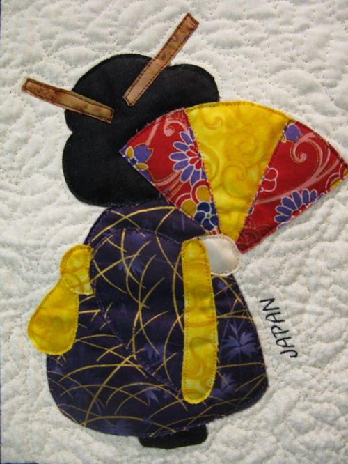 JAPAN Sunbonnet Sue with geisha attire, by MooseStash Quilting. Design from International Sunbonnet Sue by Debra Kimball