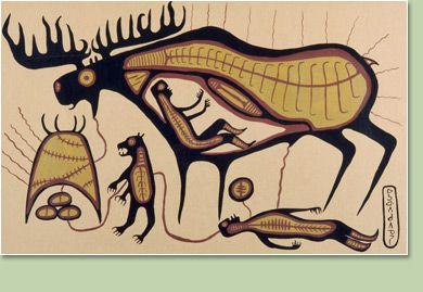 """Norval Morrisseau (Anisheg, Ojibwa):  """"Jo-Go Way Moose Dream"""""""