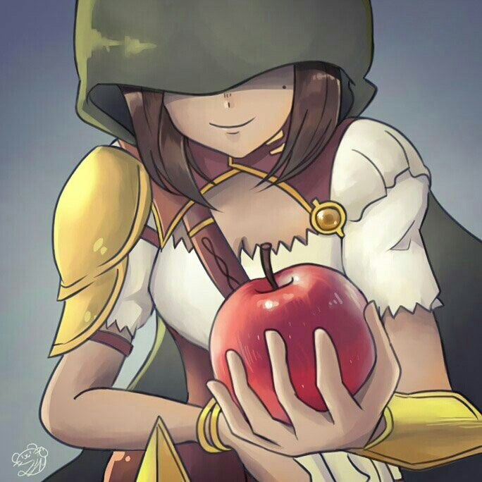 Amber and the apple