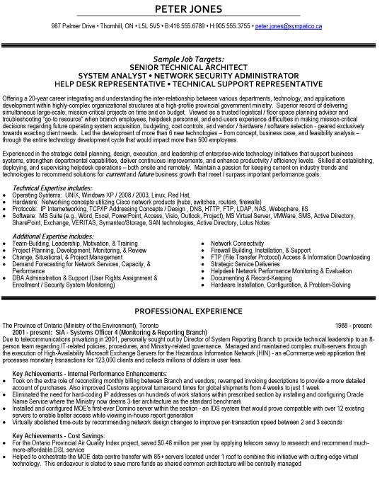Senior Technical Architect Resume Sample