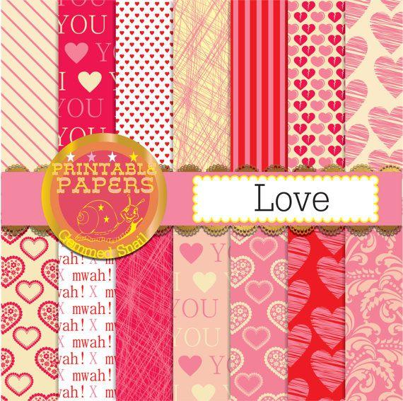 Love digital paper 'Love' 14 valentines digital by GemmedSnail  https://www.etsy.com/listing/175426324/love-digital-paper-love-14-valentines?ref=shop_home_active_12