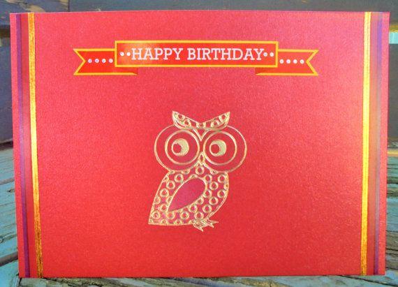 Birthday Owl  handmade card FWB birthday card by RogueKissedCraft