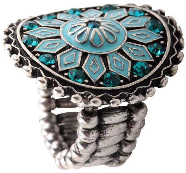 Material:  Elastischer Ring im folkloristischen Design mit emailliertem Blüten-Ornament in Aquatönen, mit Strass verziert.   Größe:  one size   Durchmesser: 3 cm