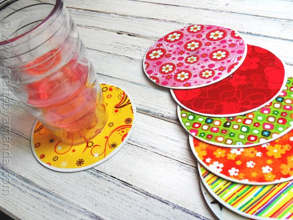 Clever recycled CD Coasters - (@ Crafts by Amanda.com)