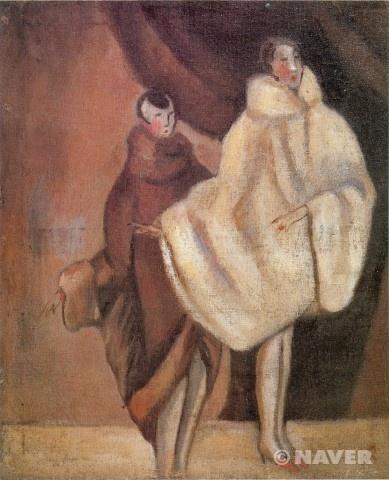 무희/ 나혜석/1927년~1928년  《무희 (캉캉)》 (1940)은 갈색의 중후한 색채를 바탕으로 서구적인 인체를 단순화하여 그렸으며 모피코트의 화려함을 강조한 작품이다. 순종적이며 집에서만 생활했던 전통적인 여성상에서 벗어나 활동적이며 서구의 새로운 문물을 받아들이던 신여성상을 제시하고 있다.
