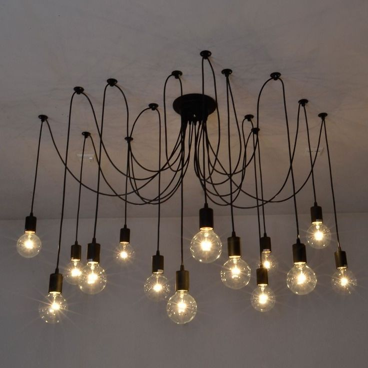 Vintage Edison Ajustable DIY Ceiling Lamp Pendant Chandelier Light with Remote #Fuloon #Transitional