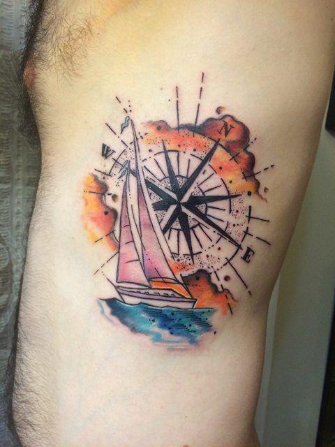 Watercolor Compass and Sailboat - Chip Harbin @ Safehouse Tattoo in Nashville, TN