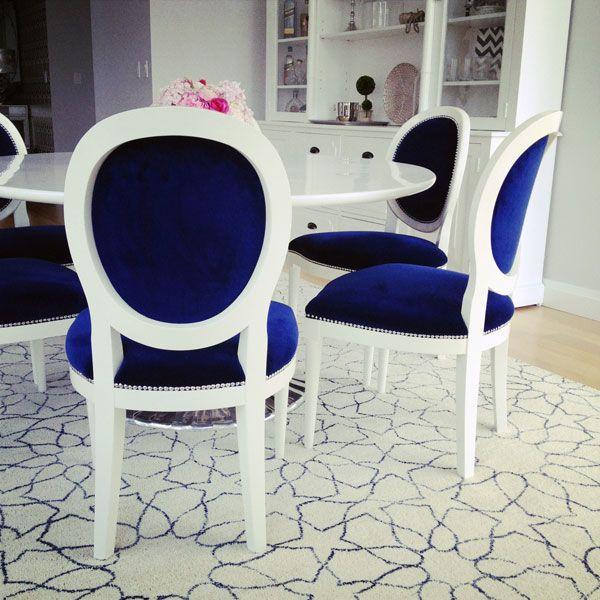 Oh Wow That Deep Blue Velvet Pops Against White Painted Chair Frames