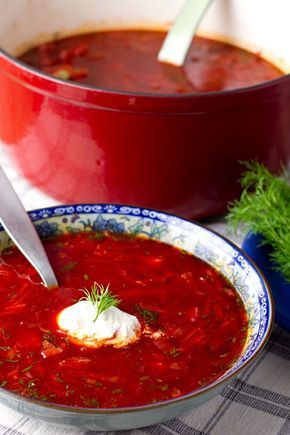 Recipe: Borsht If I had to name one dish that best represents Ukrainian cuisine it would have to be borscht. It's a hearty, hot soup made with beetroot which gives it a gorgeous burgundy red colour...