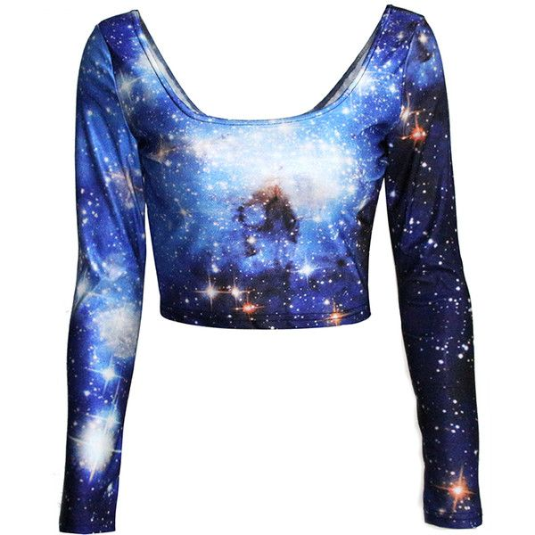 Blue Long Sleeves Ladies Galaxy Fancy Crew Neck Crop Top ($17) ❤ liked on Polyvore featuring tops, shirts, crop tops, galaxy, blue, crew neck shirts, long sleeve crop top, galaxy print shirt, crop shirts and galaxy shirt