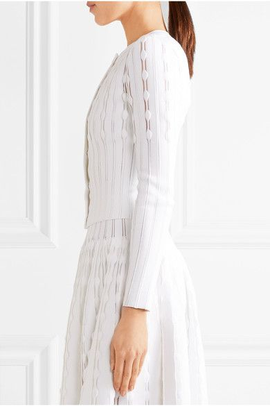 Alaïa - Stretch-knit Cardigan - White - FR