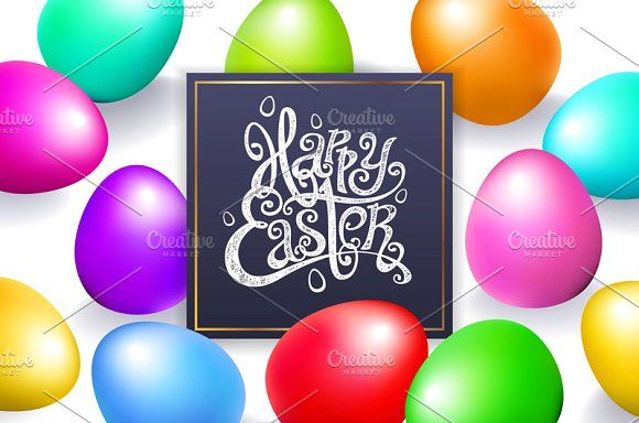 happy easter lettering vector egg by Rommeo79 on @creativemarket