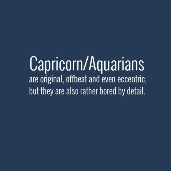 """Capricorn/Aquarians are original, offbeat and even eccentric, but they are also rather bored by detail."" #Capricorn #Aquarius #cusp"