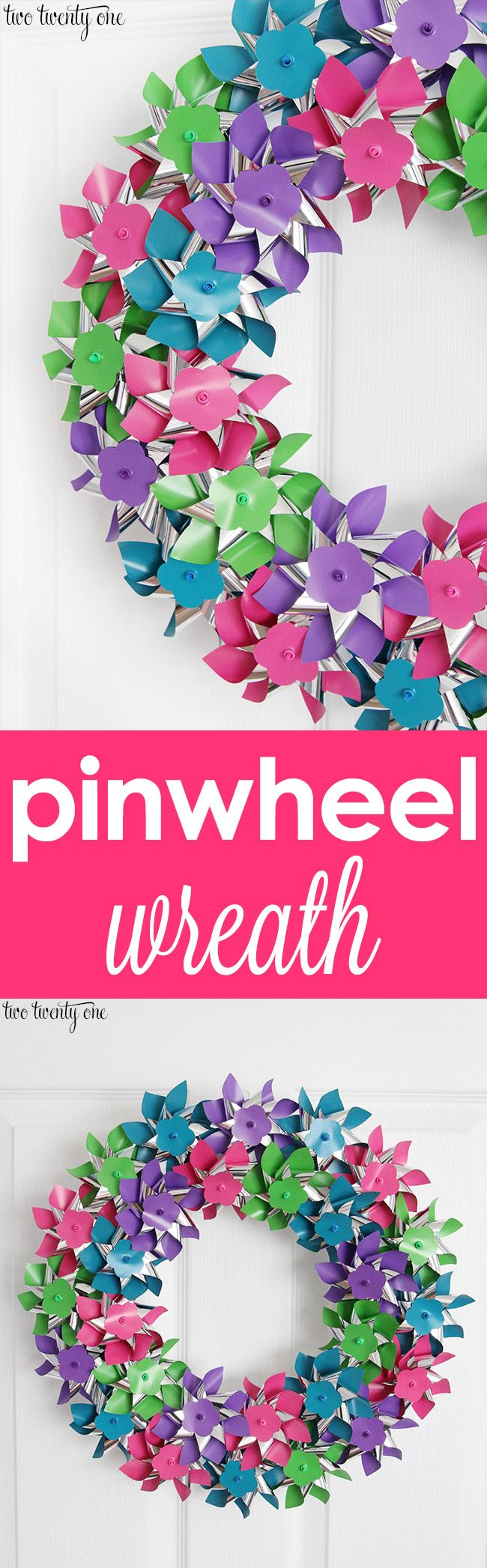Pinwheel wreath tutorial! Perfect for summer!
