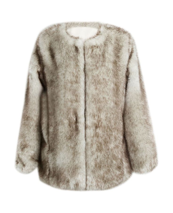 Open-front Hooked Loose Md-long Faux Fur Coat | BlackFive