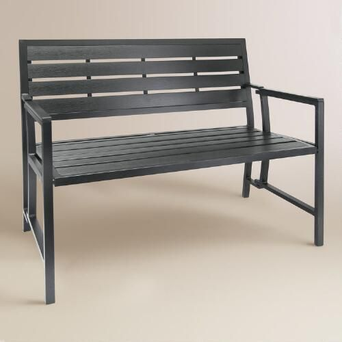 "$195 sale + $30 delivery, folds 43.3""W x 20.5""D x 32.3""H, 24 lbs. One of my favorite discoveries at WorldMarket.com: Gray Aluminum Outdoor Folding Bench"