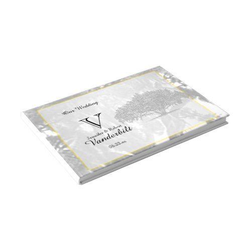 Yellow Grey Silver Mossy Oak Wedding Guest Book
