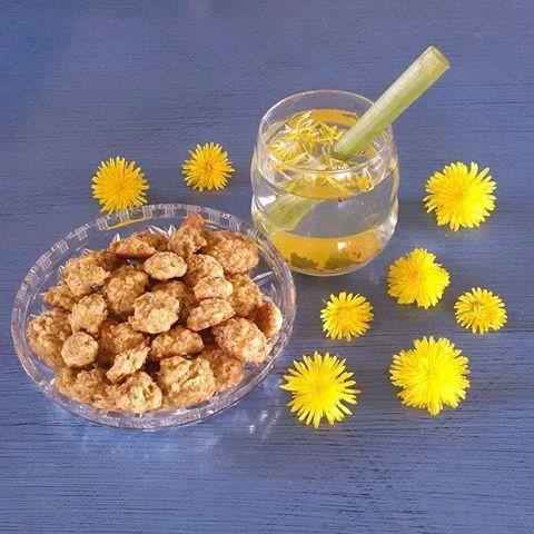 Sesongens søtsaker. Løvekjeks og løvesaft, laget med det gule fra løvetannblomsten. Saften smaker ekstra godt gjennom et parkslirekne sugerør :) Oppskrift til årets pinse og 17.mai kjeks: 1.25 dl smeltet smør rørt sammen med 1.25 dl sukker, legg i 2egg og 1tsk vanilje. Bland sammen 2.5 dl mel 2.5 dl havregryn og 1ts bakepulver, bland i 2.5 dl tettpakket løvegult. Bland alt sammen og legg små klatter av dette utover en bakeplate.  175° 13-15min. Lykke til !  Sett sukker og løvegult i et…