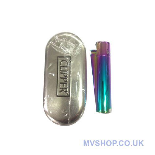 "Solid Metal Flint Ignition Clipper Lighter ""NEW MIX COLOUR BLUE GREEN PURPLE "" - Brushed Chrome Finish - Comes in Embossed Presentation Tin ..."