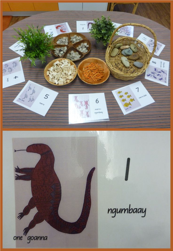 Using a range of materials for counting with Wiradjuri language counting cards at Pied Piper Preschool