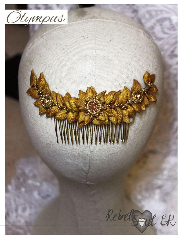 Gold leaf headband, golden leave wreath crystal headpiece, bridal hair wreath, flower hair comb, Gold tiara leaves, Greek hair Accessory