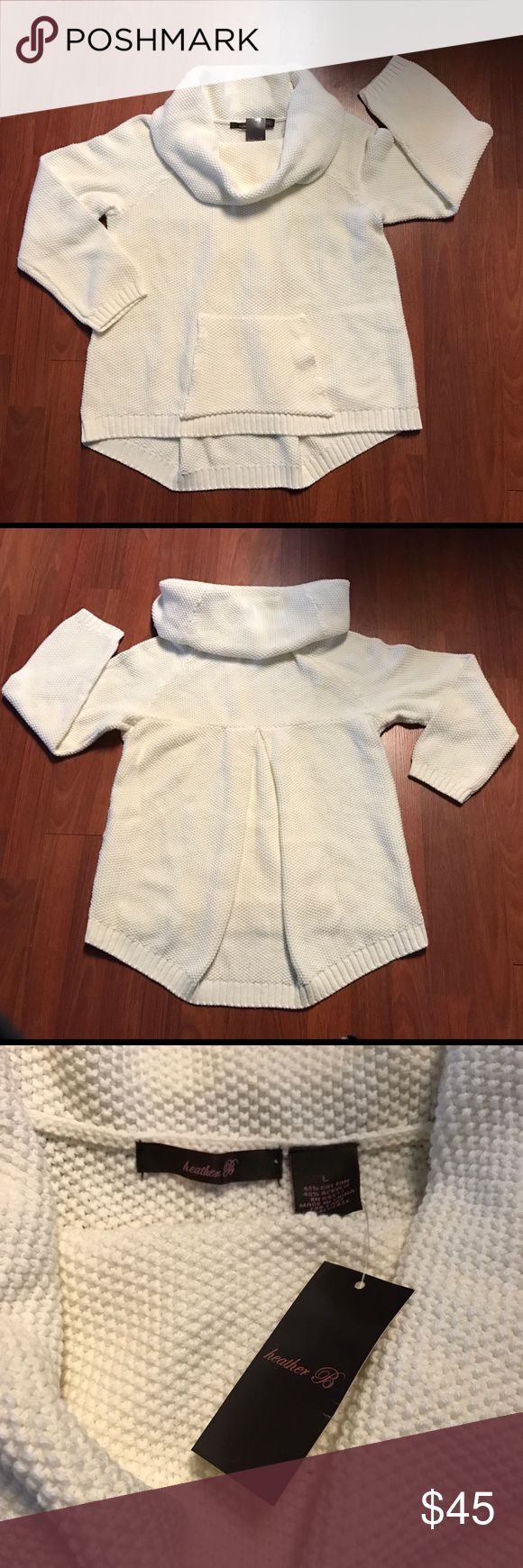 NWT Heather B Roll Neck Kangaroo Pocket Sweater 🔹 NEW WITH TAGS 🔹  Retail Cost: $108  Sz Large White (light cream) color. Cowl (roll) neck w/ kangaroo pocket, slight asymmetrical high-low design w/ pleated back for slouchy, relaxed fit. Mid to heavy weight. Hand wash.  💕 Premium skin and/or hair care samples come w/ every item!  I only ship in boxes - never plastic mailers! Heather B Sweaters Cowl & Turtlenecks