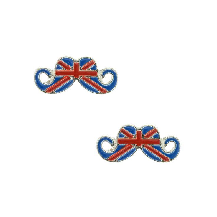 Union Jack Moustache Stud Earrings