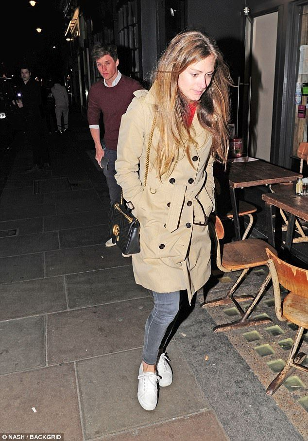 Comfy but classic: Hannah Bagshawe, 34 matched Eddie's relaxed outfit with a casual take o...