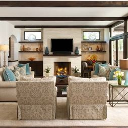 Long, narrow room with chairs and sofa seating (and a tv over the fireplace!)