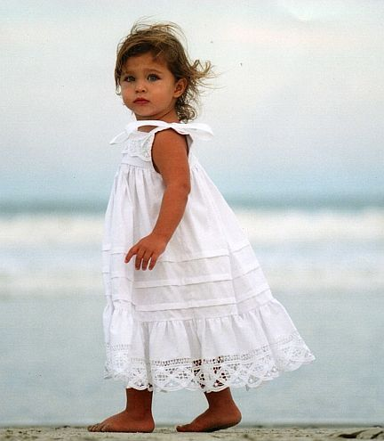 Perfect white sundress for a beach portrait.  Made of 100% cotton and Battenburg lace.