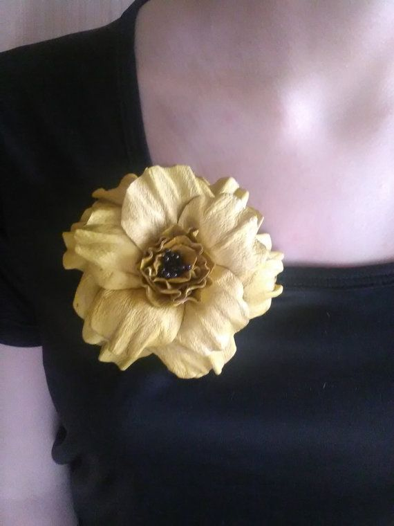 Leather flower brooch Leather jewelryLeather by EKleathercreations