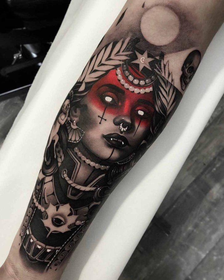 arm tattoo goddess of death