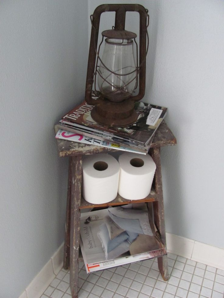 old ladder turned magazine rack  I have a stool that might work!