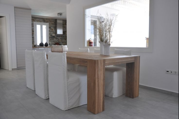 Custom made dining table, solid wood oak, greek interior design
