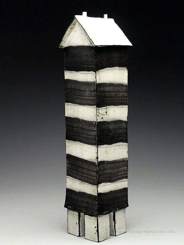 Mary Fischer Striped Tower Sculpture at MudFire Gallery