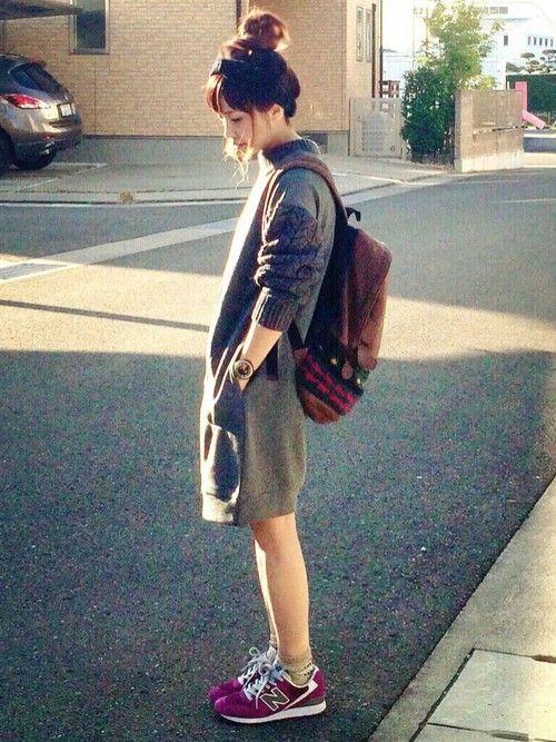 kurumiさんのワンピース「Dot&Stripes CHILD WOMAN 裏毛×アラン編み ドッキングOP」を使ったコーディネート