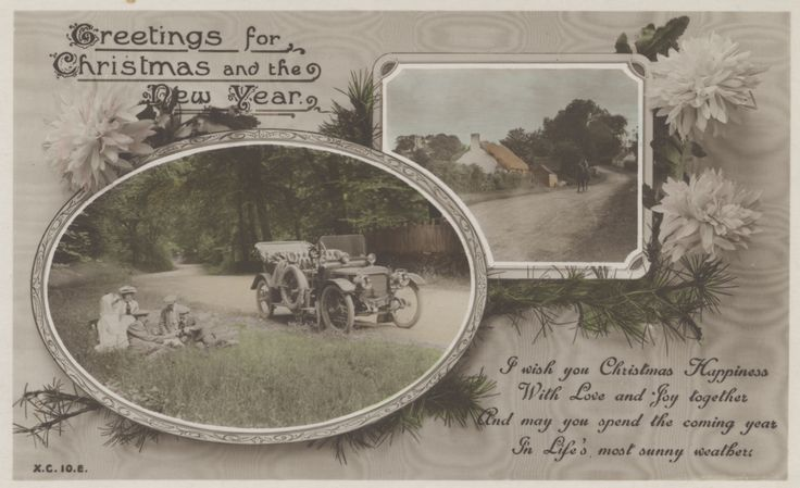 Postcard, Greetings for Christmas and the New Year, Rotary Photographic Series (Publisher),  gifted by Mr Geoff Harding, collection of Hawke's Bay Museums Trust, Ruawharo Tā-ū-rangi, [88275]