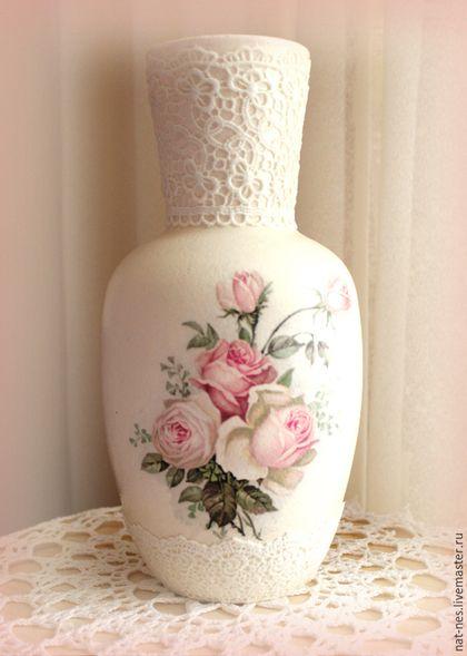 Вазы ручной работы. Ярмарка Мастеров - ручная работа. Купить Кружевная ваза. Handmade. Белый, винтаж, уютный дом