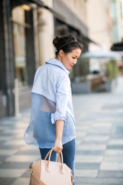 Sheer Casual :: Silk organza back & Distressed jeans