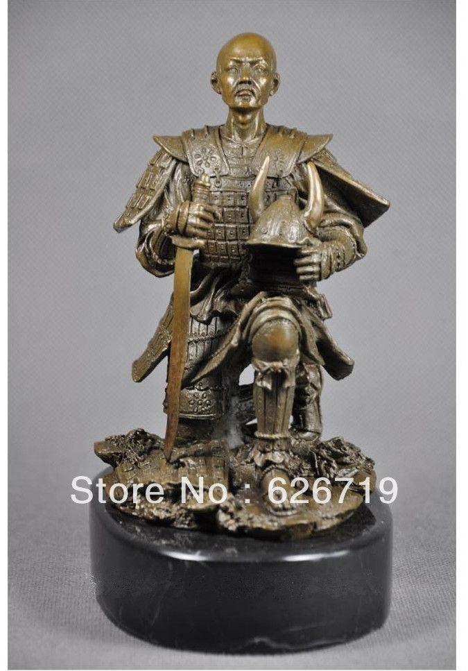 Классическая ожесточенные воины ниндзя бронзовая статуя самурай броня японский нож меч самурая скульптуры CZS-092