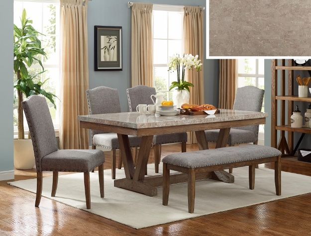 1211t 4272 6 Pc Vespa Brown Finish Wood Marble Top Dining Table