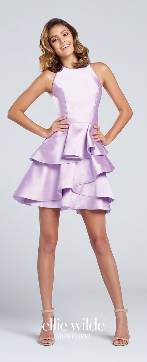 Prom Dresses 2017 - Ellie Wilde for Mon Cheri - Lavender Short Prom Dress with Asymmetrically Ruffled Skirt - Style No. EW117016