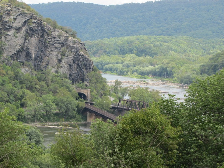 Potomac River, railroad bridge leading over to Harpers Ferry.