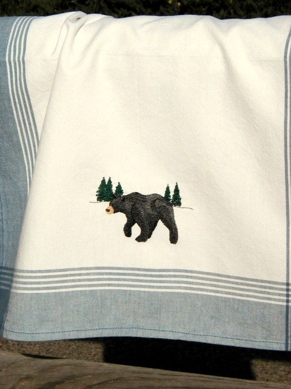 Items Similar To Bear Black Embroidered Cabin Kitchen Towel Woodland Pine  Forest Rustic Lodge Home Decor On Etsy