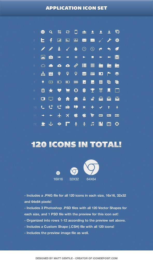 The Application Icon Set by Matt Gentile consists of 120 pixel-perfect icons in three different sizes (16px, 32px and 64px) and it comes in three formats (PSD, PNG and CSH). The icons are vector shapes so you can scale them to any size.