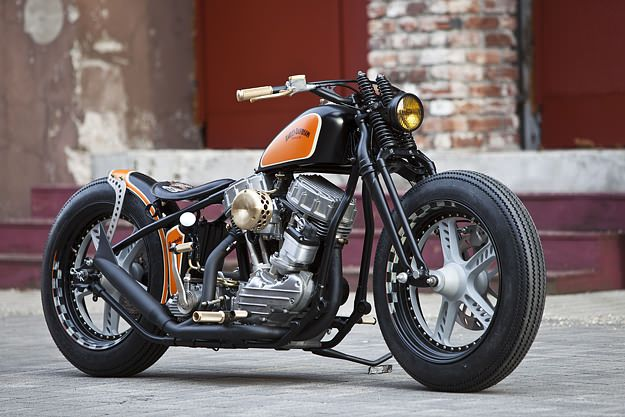 A very classy 1951 Harley-Davidson Panhead custom. It's the work of Thunderbike, the German company that won the 2012 AMD World Championship of bike building.