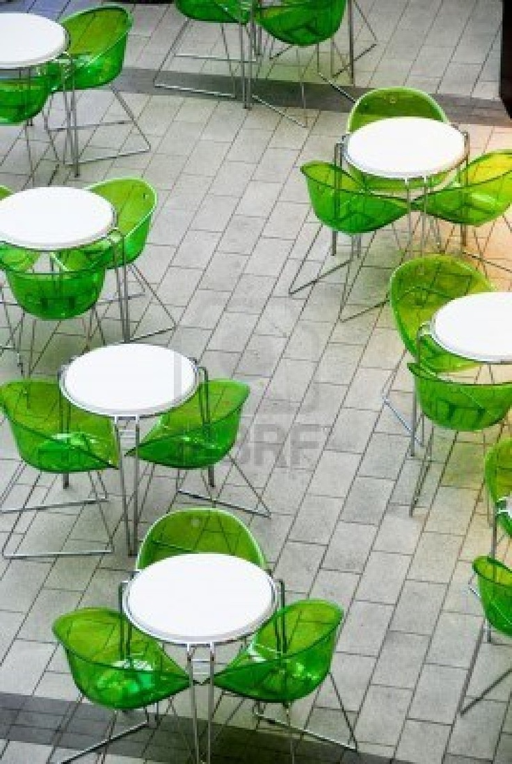 Superieur I Love The Bright White Tables With The Clear Acrylic Chairs In Emerald.  Seen On
